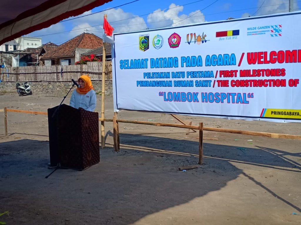 Toespraak door Nunung, penningmeester van de Stichting Lombok Sahabat Bangsa /Stichting VLOK